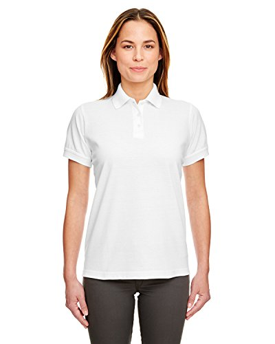 8530 Ultraclub Lady Polo (UltraClub Ladies' Classic Piqué Polo Shirt, White, X-Large. (Pack of 10))