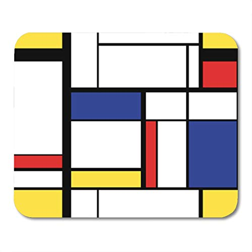 Semtomn Gaming Mouse Pad Blue Cubism Abstract Modern Painting in Mondrian Colorful Artistic 9.5