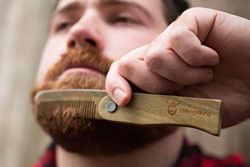 Folding Wooden Comb - Men's Beard, Mustache, and Head Hair Styling Comb w/Gift Box - Pocket Sized, Durable, Anti-Static Sandal Wood Comb for Every Day Grooming - by Striking Viking