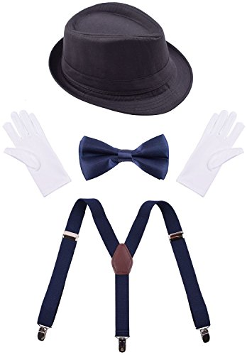 Mens Accessory Set - Navy Suspenders,Navy Bow Tie,Fedora Hat,White Gloves