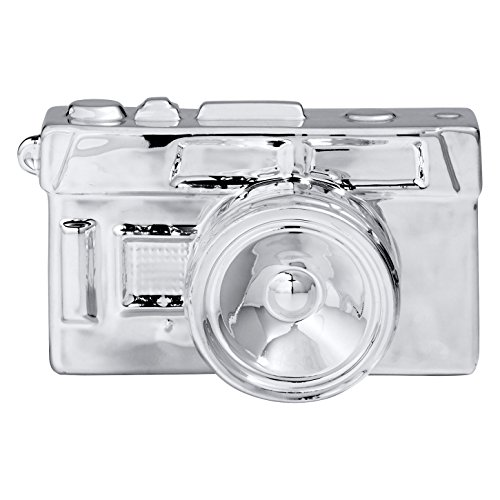 (Rivet Electroplated Ceramic Vintage Camera Figurine Decorative Home Décor - 3.5 x 6.5 Inch, Silver)