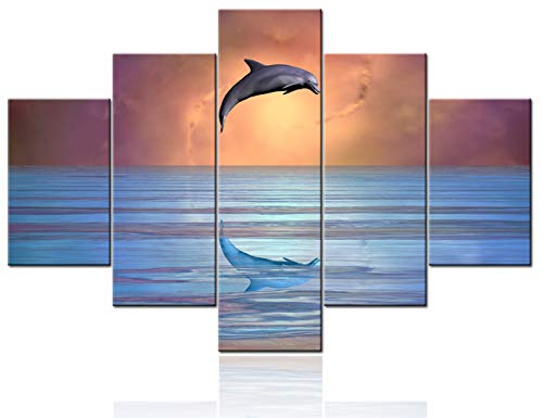 House Decorations Living Room Dolphin Leaping Picture Nature Seascape Painting 5 Panel Orange Canvas Sealife Fish Wall Art Contemporary Artwork Framed Ready to Hang Poster and Prints(60''Wx40''H)