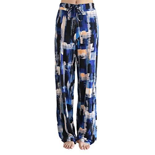 Buttery Soft Pajama Pants for Women - Floral Print Drawstring Casual Palazzo Lounge Pants Wide Leg for All Seasons (XXL, Blue Block) ()