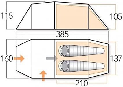 Vango Ark 200 Plus 2 Personen Zelt IGLU Tunnel 3000 mm