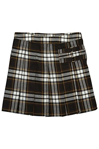 Girls' Plaid Pleated Scooter, Brown Plain, 6 (Brown Plaid Skirt)