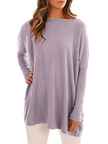 - Coutgo Womens Long Sleeves Sweater Boat Neck Tunic Tops Loose Knit Pullover (XL, Purple)
