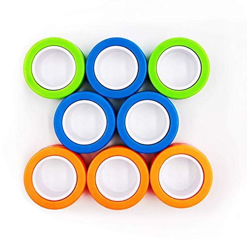 Inno-Huntz Stress Relief Toys Fidget Magnetic Rings Mind Relaxing Finger Toys Decompression Magical Rings Serenity Unzip Finger Game Hand Spinners Tricks Anxiety Toys 3 PCs Set (Multi Color)