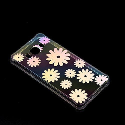 Ecoway TPU Funda Funda para Samsung Galaxy J7 (2016)J710, Patrón de recubrimiento de color Carcasa Antideslizante Suave Parachoques Resistente a los arañazos Contraportada Funda de silicona Parachoque crisantemo