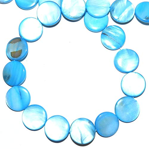 Blue 15mm Flat Puffed Round Coin Mother of Pearl Gemstone Shell Beads 16 (Beads Coin Puffed)