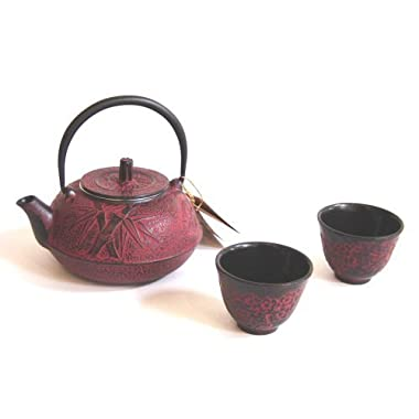 Happy Sales HSCT-BMR05, Cast Iron Tea Pot Tea Set Bamboo Burgundy