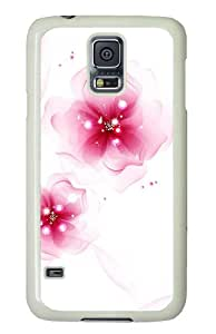 carrying Samsung Galaxy S5 cover Elegant pink flowers PC White for Samsung S5