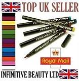 12 pcs Original Stargazer Semi Permanent High Quality Tattoo Pens Set & Corrector Pen Makeup Fancydress Body Art Designs Sleeves, 12 Colour Color Shades