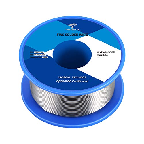 TREONYIA 63-37 Tin Lead Rosin Core Solder Wire (0.6mm 50g) Electrical Soldering Wire - 0.0236 inches, 0.11lbs