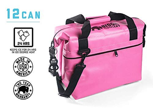 - BISON COOLERS Soft Sided Insulated 12 Can Cooler Bag | Leak Proof Ice Chest for Beverages or Food | Includes 2 Year Warranty | Made in The USA