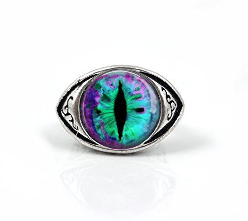 Little Gem Girl Realistic Animal Eye Ring Antique Silver Finish Dragon Cat Lizard Eyeball Ring (20 - Purple Aqua Green)