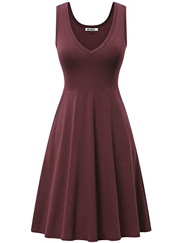 HUHOT Wine Dresses for Women,Spring Sleeveless Dress with Pocket V Neck Holiday ()