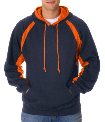 Badger BD1262 Adult Hook Hoodie, Navy and Burnt Orange, (Badger Hooded Sweatshirt)