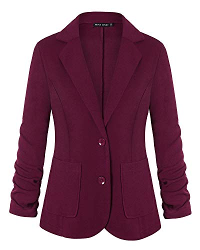 (Unifizz Slim Fit Casual Work Office Blazers One Button Jacket with Pocket Wine Red M)