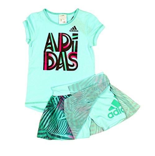 Girls Skort Set - adidas Little Girls' 2-Piece Top and Skort Set (4T, Light Aqua)