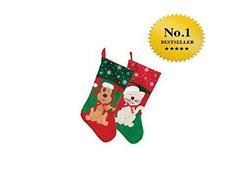 2 Pack: Christmas House Pet Christmas Stockings, 18 Inch (1 Dog and 1 Cat)