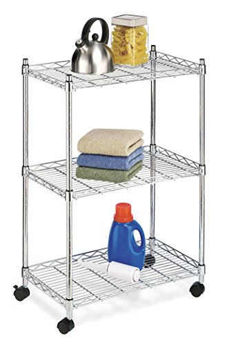 Whitmor Supreme 3-Shelf Steel Rolling Cart, Chrome