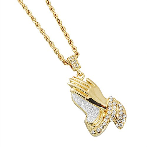 Mens Gold-Tone Hip Hop Bling Iced Out Large Praying Hands Stardust Pendant 4mm 24