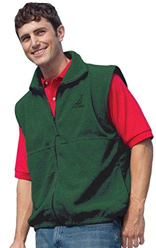 Inner Harbor Adult Poly Micro-Fleece Full-Zip Vest (Hunter Green) (Mens Microfleece Vest)