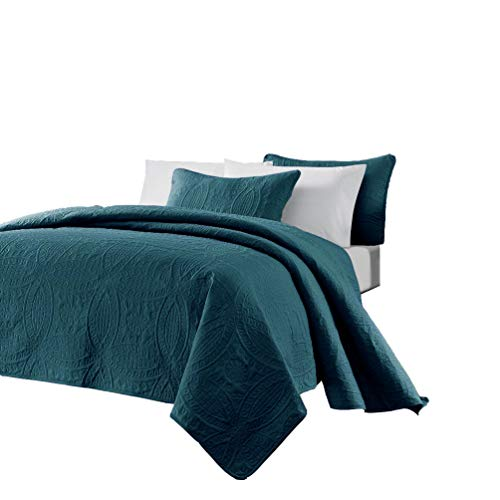 Chezmoi Collection Austin 3-Piece Oversized Bedspread Coverlet Set (Queen, Teal),