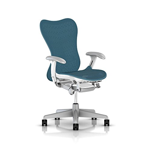 Herman Miller Mirra 2 Office Chair Tilt Limiter – Adjustable Arms and Seat – Dark Turquoise Butterfly Suspension Latitude Back with Studio White Frame Fog Base – Adjustable Lumbar Support – C7 Hard Floor Casters For Sale