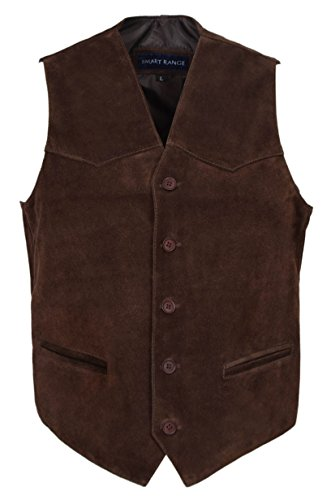 Men's New Party Fashion Stylish Real Genuine Classic Designer Real Soft Suede Leather Waistcoats Vests (2XL, Brown (New England Brown Coat)