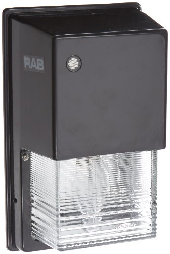 RAB Lighting WPTGSN100/PC Tallpack High Pressure Sodium Lamp with Prismatic Glass Refractor, ED17 Type, 100W Power, 9500 Lumens, 120V Button Photocell, Bronze Color
