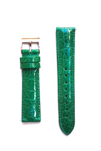 20mm Emerald Green Genuine Crocodile with Quick-Release Pins for Michele (Emerald Mens Watch)