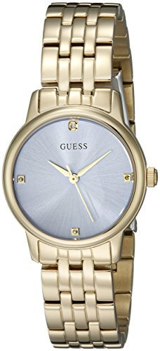 GUESS Women's U0533L2 Dressy Gold-Tone Watch with Genuine Crystals & Self-Adjustable Links