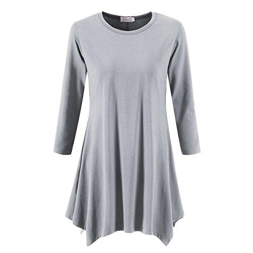 - Topdress Women's Swing Tunic Tops 3/4 Sleeve Loose T-Shirt Dress Light Gray M