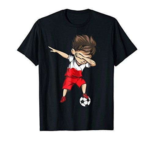 Dabbing Soccer Boy Poland Jersey Shirt - Polish (Poland Soccer T-shirt)