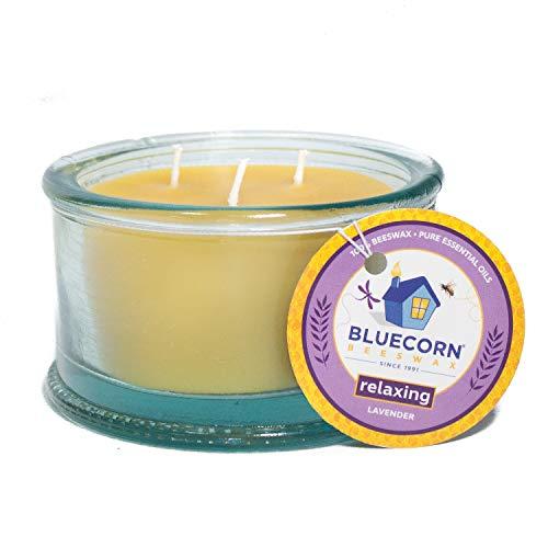 Bluecorn Beeswax 100% Recycled Spanish Glass Aromatherapy Beeswax Candle - 3 Wick - - Beeswax Aromatherapy Candles