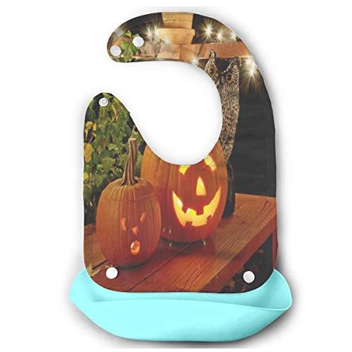 Halloween Pumpkins Baby Bibs Silicone Drool Unisex Waterproof Toddler Bib/Smock With Food Catcher Pocket