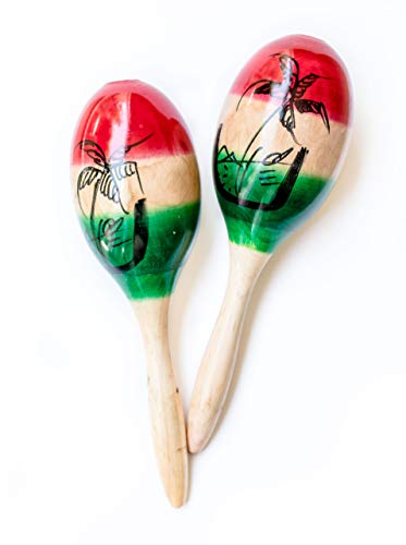 Maracas for Adults 2Pcs – Large Rumba Rattle Shakers, Real Wood Latin Hand Percussion, Maracas Mexicanas with Great Stimulating Salsa Rhythm | Full Rich Sound for Fun Mexican Fiesta