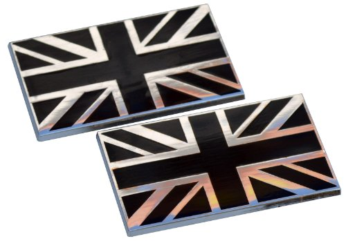 BLACK Union Jack Metal Car Body Badges self adhesive (pair) (Badges Union Jack)