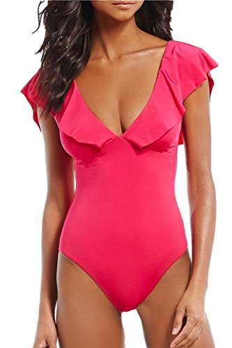 Flattering Swimwear (AdoreShe Women's Sexy V-Plunge One-Piece Swimsuit,Studio Solids Ruffle Sleeve Swimwear Bathing Suit (A18053,Fuchsia,XL))
