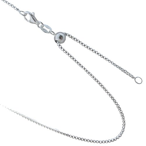 Adjustable 1.2mm Round Box Chain 925 Sterling Silver Necklace. 20, 24 Inches or Make It Shorter (24 Inches) Round Box Chain