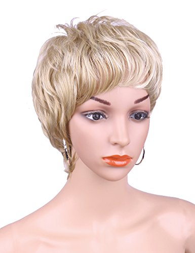 Kalyss Fashion Pixie Bob Cut Short Subtle Curly Wavy Blonde for Women Premium Synthetic Blonde Wigs with Hair Bangs Full Hair Blond Wigs for White Women