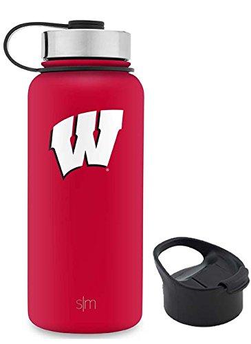 Wisconsin Badgers Bottle - Simple Modern 32oz Summit Water Bottle - Wisconsin Badgers Vacuum Insulated 18/8 Stainless Steel Travel Mug - Wisconsin