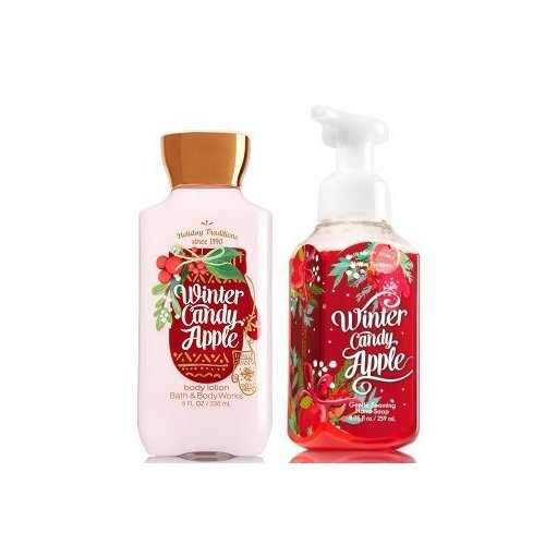 Bath and Body Works Gentle Foaming Hand Soap Winter Candy Apple 8.75 Oz and Body Lotion 8 Oz Apple Scented Body Lotion