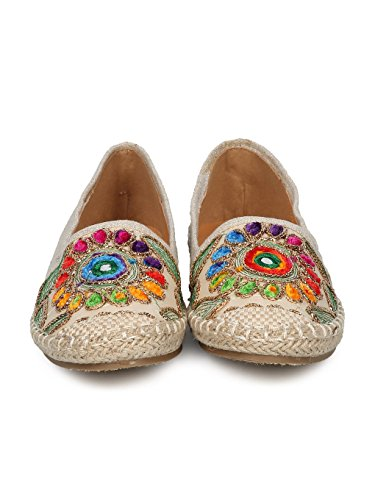 Women Linen Embroidered Nature Espadrille Flat HE51 - Beige Mix Media (Size: 10) by Alrisco (Image #3)