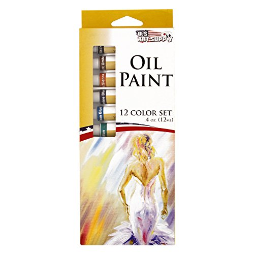 U.S. Art Supply Professional 12 Color Set of Art Oil Paint in 12ml Tubes - Rich Vivid Colors for Artists, Students, Beginners - Canvas Portrait (12 Oil Colours)