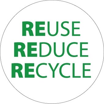 NMC HH99 2'' x 2'' PS Vinyl Hard Hat Emblem w/Legend: ''Reduce Reuse Recycle'', 12 Packs of 25 pcs by National Marker (Image #1)