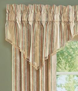 Waverly Capulet Stripe Parchment Ascot Valance with Bead Fringe ()