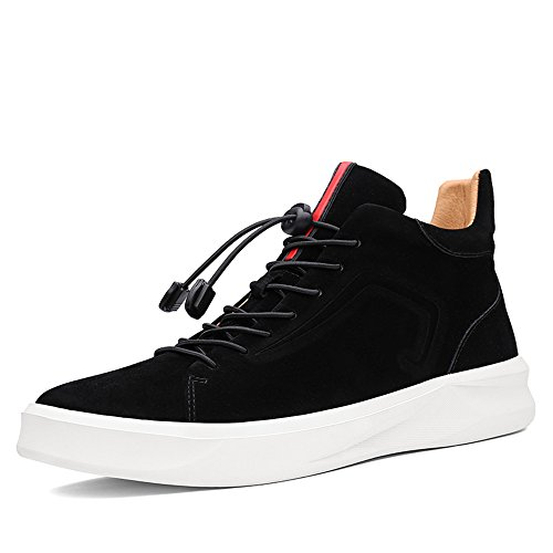 Sunrolan Mens Mocka Modern Mode High-top Utomhus Idrotts- Kör Sneakers Boot Skor Mocka Svart