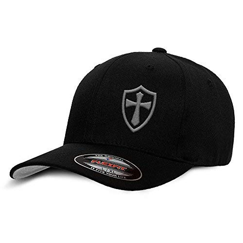 Crusader Knights Templar Cross Baseball Hat Small/Medium Grey on Black